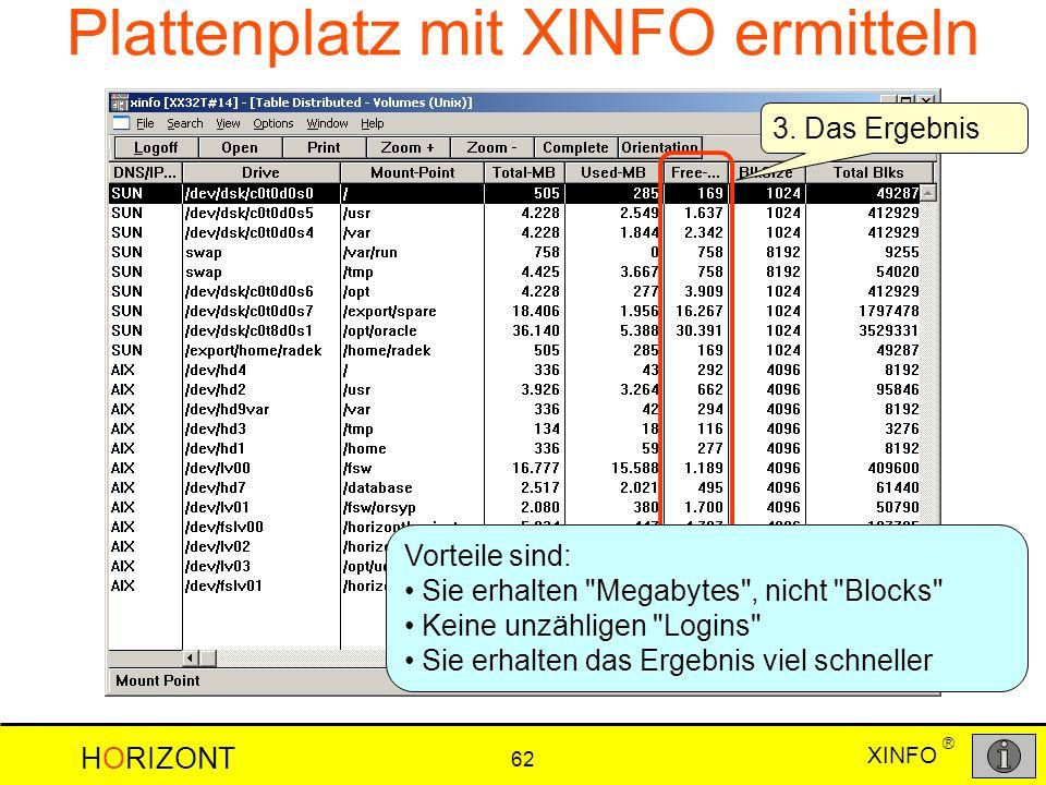 XINFO HORIZONT 62 ® 3. Das Ergebnis Plattenplatz mit XINFO ermitteln Vorteile sind: Sie erhalten