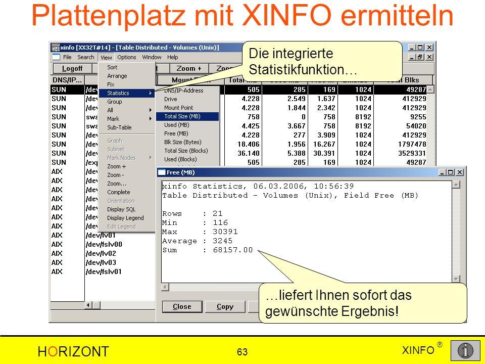 XINFO HORIZONT 63 ® …liefert Ihnen sofort das gewünschte Ergebnis! Die integrierte Statistikfunktion… Plattenplatz mit XINFO ermitteln