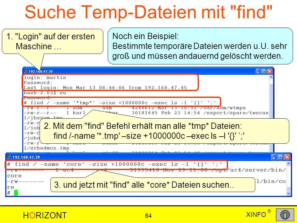 XINFO HORIZONT 64 ® a Suche Temp-Dateien mit
