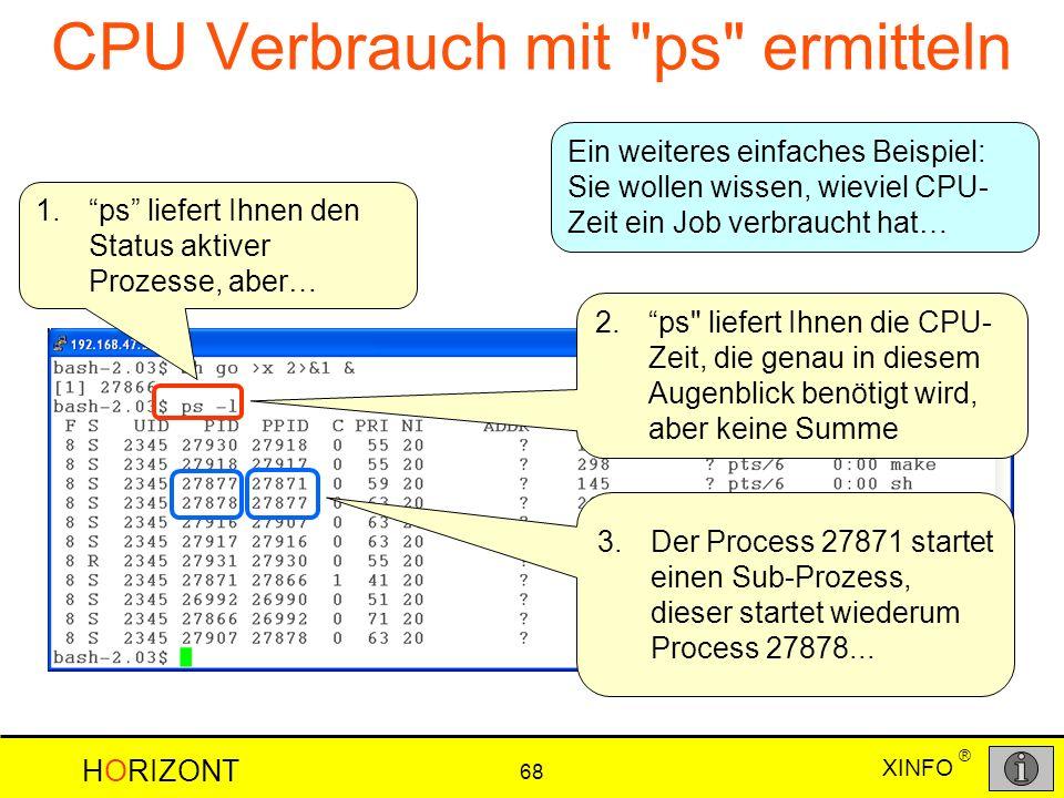 XINFO HORIZONT 68 ® CPU Verbrauch mit