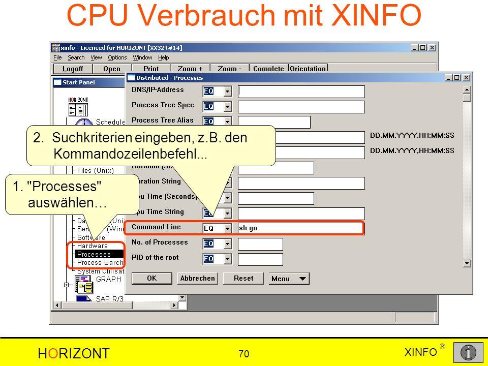XINFO HORIZONT 70 ® CPU Verbrauch mit XINFO 2. Suchkriterien eingeben, z.B. den Kommandozeilenbefehl... 1.