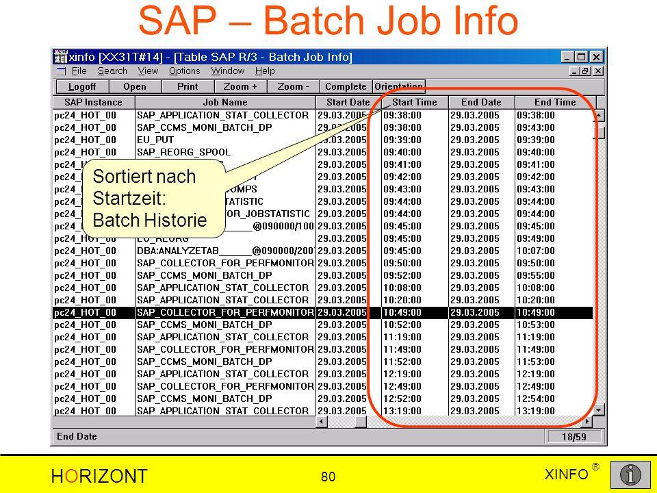 XINFO HORIZONT 80 ® SAP – Batch Job Info Sortiert nach Startzeit: Batch Historie