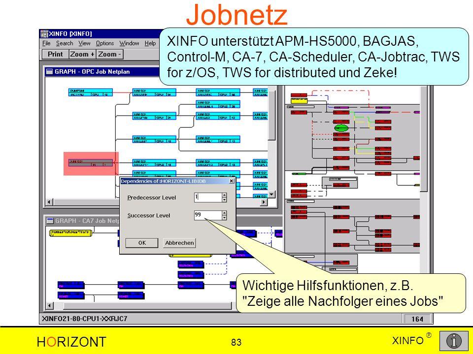 XINFO HORIZONT 83 ® Jobnetz XINFO unterstützt APM-HS5000, BAGJAS, Control-M, CA-7, CA-Scheduler, CA-Jobtrac, TWS for z/OS, TWS for distributed und Zek