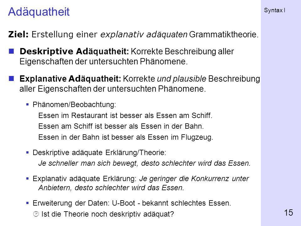 Syntax I 15 Adäquatheit Ziel: Erstellung einer explanativ ad äquaten Grammatiktheorie.