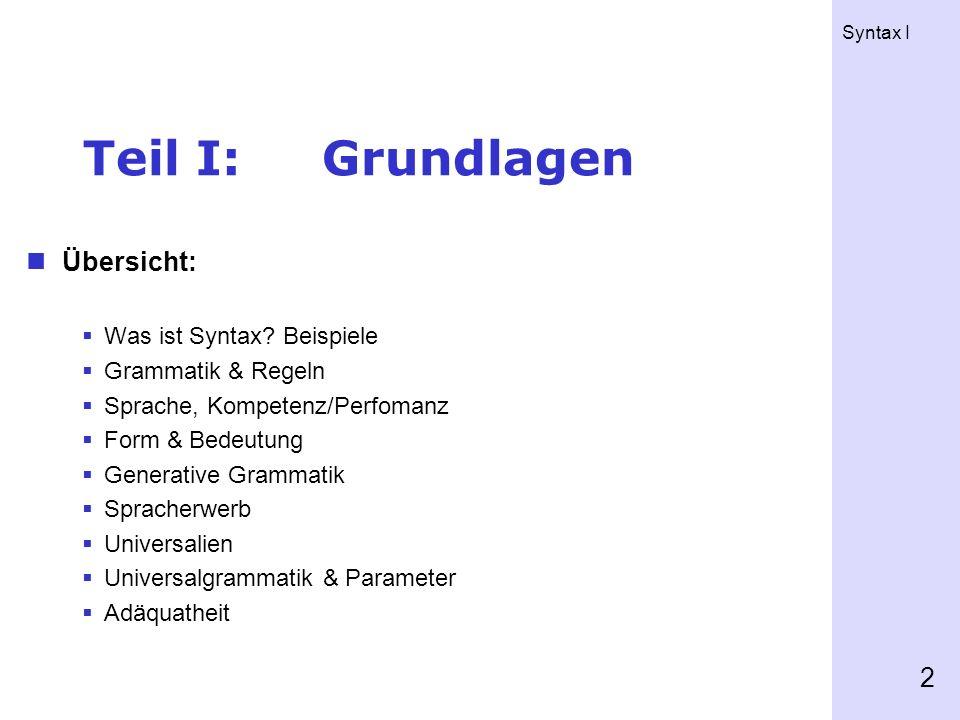 Syntax I 2 Teil I:Grundlagen Übersicht: Was ist Syntax.