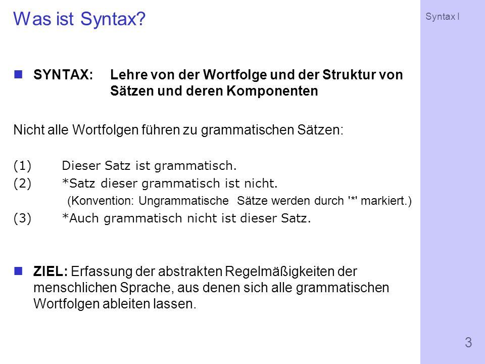 Syntax I 3 Was ist Syntax.