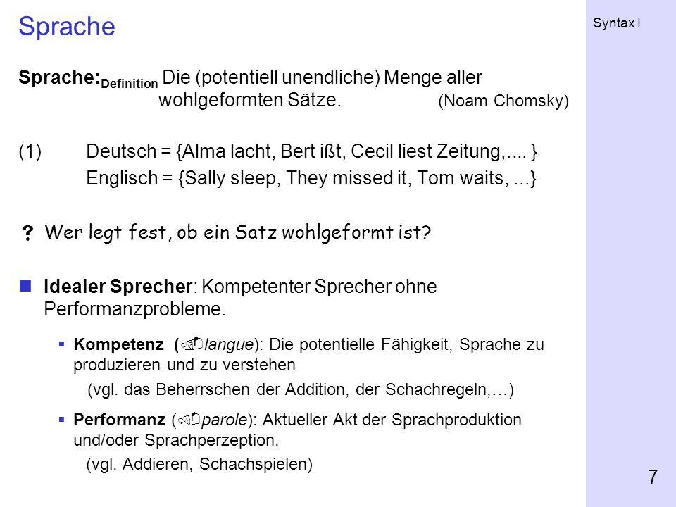 Syntax I 7 Sprache Sprache: Definition Die (potentiell unendliche) Menge aller wohlgeformten Sätze.