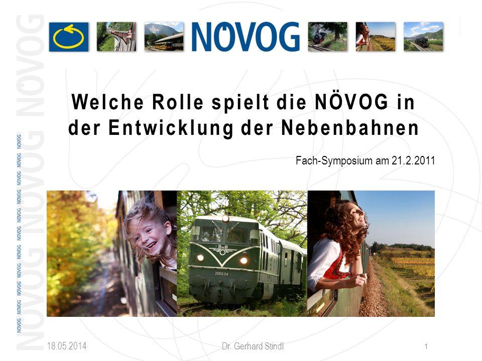 18.05.2014 Dr. Gerhard Stindl 1 Welche Rolle spielt die NÖVOG in der Entwicklung der Nebenbahnen Fach-Symposium am 21.2.2011