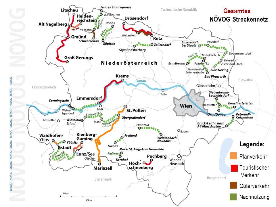 18.05.2014 Dr. Gerhard Stindl 12 Legende: Planverkehr Touristischer Verkehr Güterverkehr Nachnutzung Gesamtes NÖVOG Streckennetz