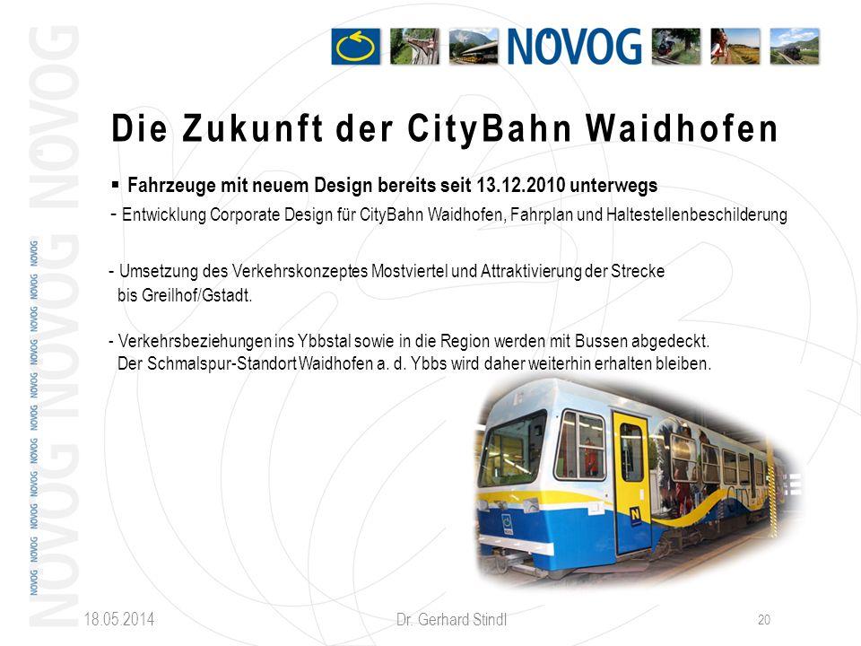 18.05.2014 Dr. Gerhard Stindl 20 Die Zukunft der CityBahn Waidhofen Fahrzeuge mit neuem Design bereits seit 13.12.2010 unterwegs - Entwicklung Corpora