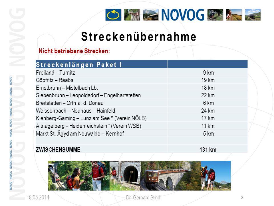18.05.2014 Dr. Gerhard Stindl 3 Streckenübernahme Nicht betriebene Strecken: Streckenlängen Paket I Freiland – Türnitz 9 km Göpfritz – Raabs19 km Erns