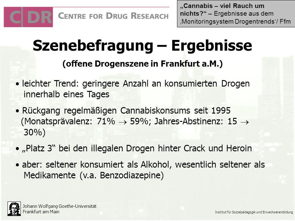 Johann Wolfgang Goethe-Universität Frankfurt am Main Institut für Sozialpädagogik und Erwachsenenbildung Szenebefragung – Ergebnisse (offene Drogenszene in Frankfurt a.M.) leichter Trend: geringere Anzahl an konsumierten Drogen innerhalb eines Tages Rückgang regelmäßigen Cannabiskonsums seit 1995 (Monatsprävalenz: 71% 59%; Jahres-Abstinenz: 15 30%) Platz 3 bei den illegalen Drogen hinter Crack und Heroin aber: seltener konsumiert als Alkohol, wesentlich seltener als Medikamente (v.a.