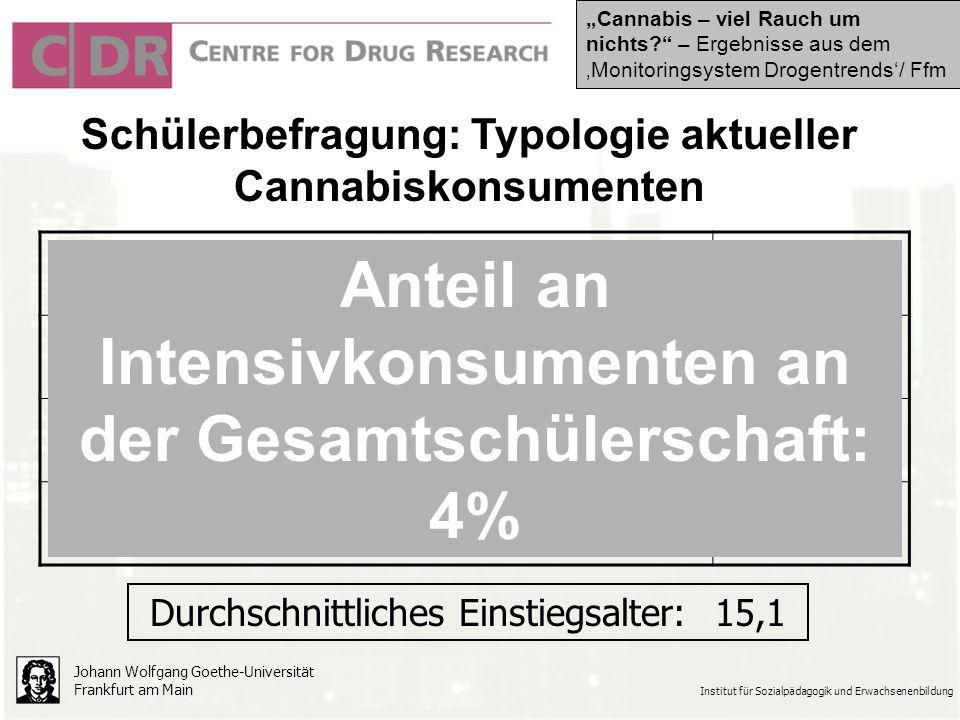 Schülerbefragung: Typologie aktueller Cannabiskonsumenten Johann Wolfgang Goethe-Universität Frankfurt am Main Institut für Sozialpädagogik und Erwachsenenbildung Gelegenheitskonsument53% Wochenendkonsument14% Gewohnheitskonsument16% Intensivkonsument16% Anteil an Intensivkonsumenten an der Gesamtschülerschaft: 4% Durchschnittliches Einstiegsalter: 15,1 Cannabis – viel Rauch um nichts.