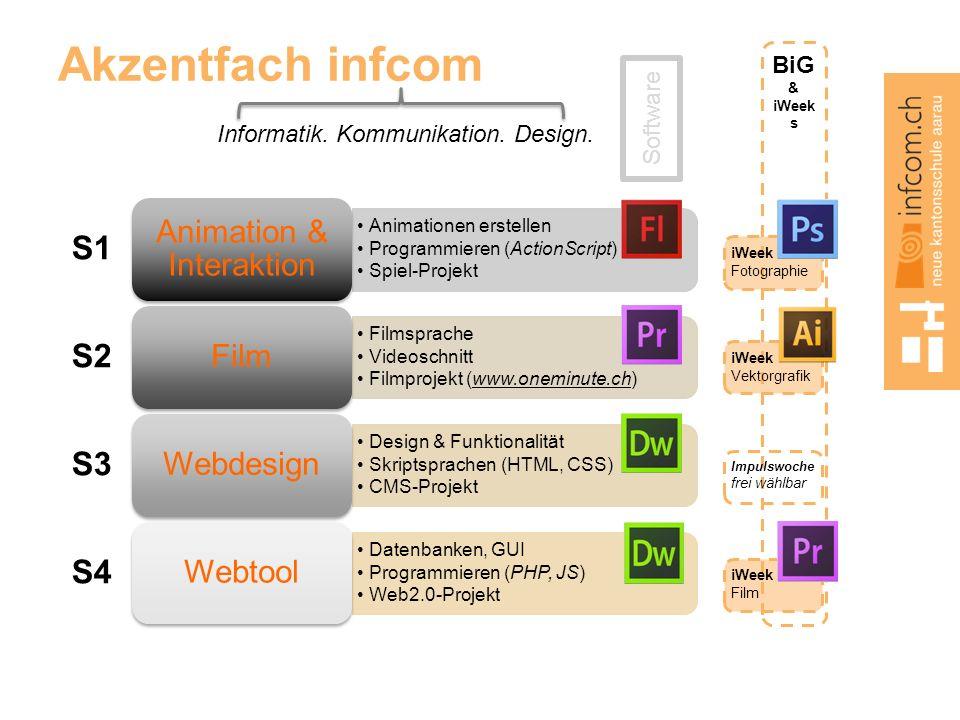 BiG & iWeek s Akzentfach infcom Informatik. Kommunikation. Design. Animationen erstellen Programmieren (ActionScript) Spiel-Projekt Animation & Intera