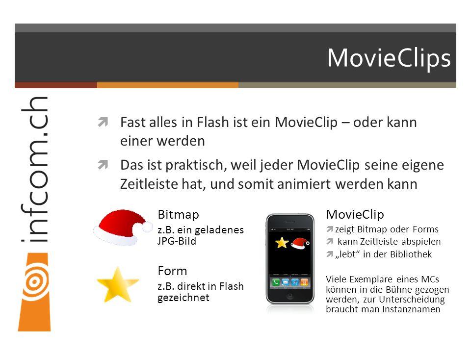 MovieClips Fast alles in Flash ist ein MovieClip – oder kann einer werden Das ist praktisch, weil jeder MovieClip seine eigene Zeitleiste hat, und somit animiert werden kann Bitmap z.B.