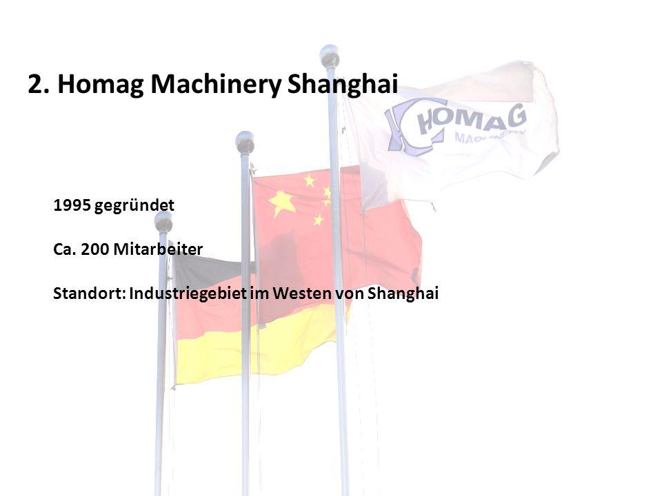 2. Homag Machinery Shanghai 1995 gegründet Ca. 200 Mitarbeiter Standort: Industriegebiet im Westen von Shanghai