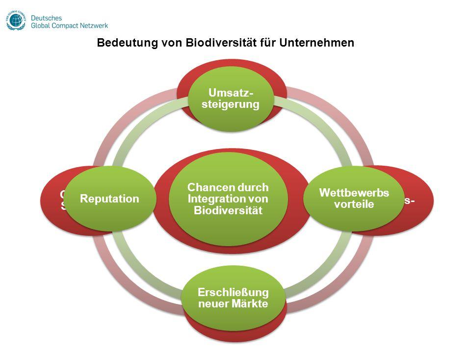 Folgen der Nicht- Beachtung von Biodiversität Verringerter Absatz Höhere Beschaffungs- kosten Störungen in Zulieferkette Gesetzliche Sanktionen Chance