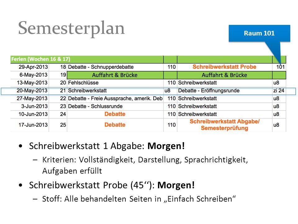 Semesterplan Schreibwerkstatt 1 Abgabe: Morgen! –Kriterien: Vollständigkeit, Darstellung, Sprachrichtigkeit, Aufgaben erfüllt Schreibwerkstatt Probe (
