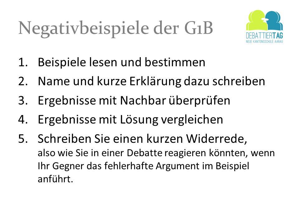 Negativbeispiele der G1B 1.Beispiele lesen und bestimmen 2.Name und kurze Erklärung dazu schreiben 3.Ergebnisse mit Nachbar überprüfen 4.Ergebnisse mi