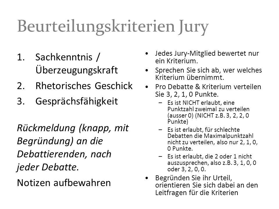 Beurteilungskriterien Jury 1.Sachkenntnis / Überzeugungskraft 2.Rhetorisches Geschick 3.Gesprächsfähigkeit Rückmeldung (knapp, mit Begründung) an die