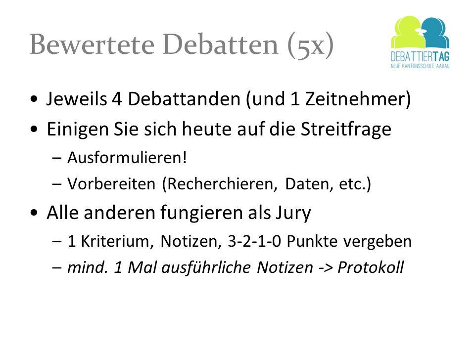 Bewertete Debatten (5x) Jeweils 4 Debattanden (und 1 Zeitnehmer) Einigen Sie sich heute auf die Streitfrage –Ausformulieren! –Vorbereiten (Recherchier
