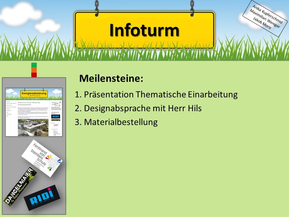 Infoturm Anika Kupferschmid Maximilian Weniger Jakob Moriz Meilensteine: 1.