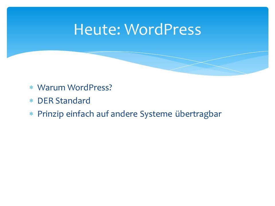 Warum WordPress? DER Standard Prinzip einfach auf andere Systeme übertragbar Heute: WordPress