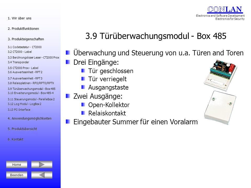 Relaisbox mit vier programmierbaren Relais Je Relais ein potentialfreier Wechselkontakt Master/Slave-Funktion (R1 mit R3/R2 mit R4) Anwendungsmöglichkeiten: Türöffner oder Türklingel Zeitregistrierung Einbruchmeldeanlagen Früh-/Nachtanlieferung 3.12 Log Modul - LogBox 2 3.12 Log Modul - LogBox 2 5.