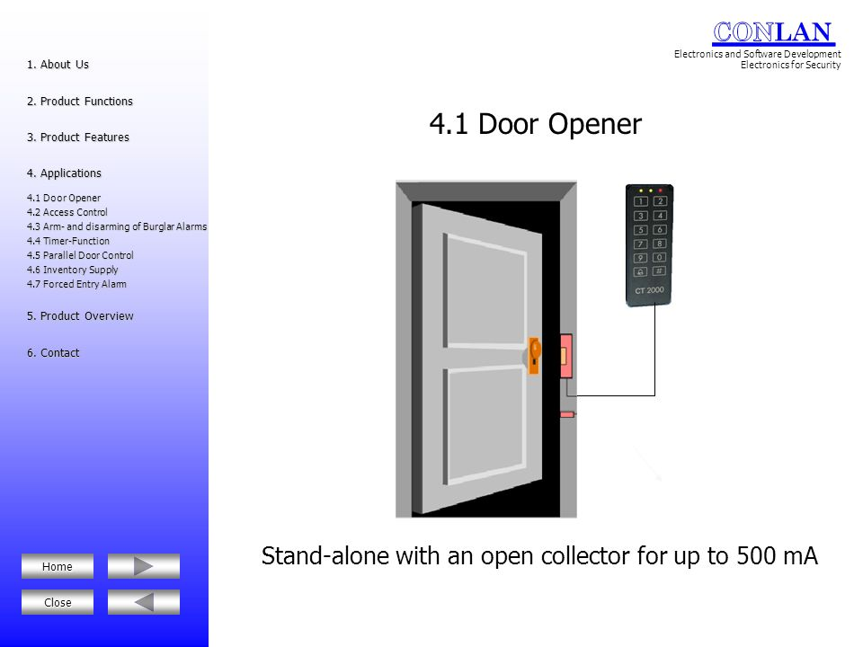 Controls the status of the door 1.About Us 1. About Us 2.Product Functions 2.