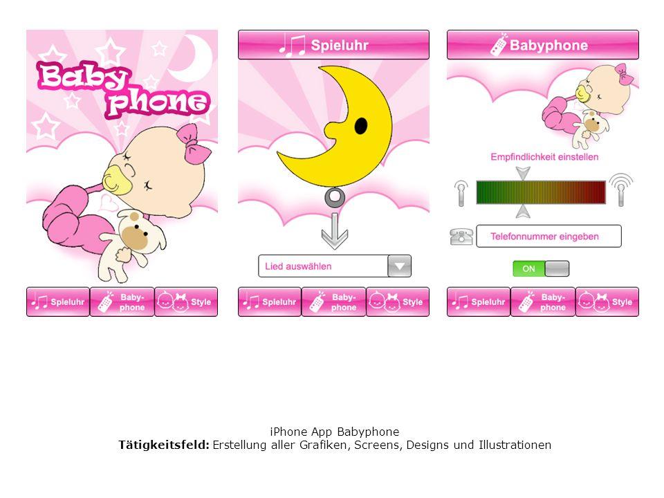 iPhone App Babyphone Tätigkeitsfeld: Erstellung aller Grafiken, Screens, Designs und Illustrationen