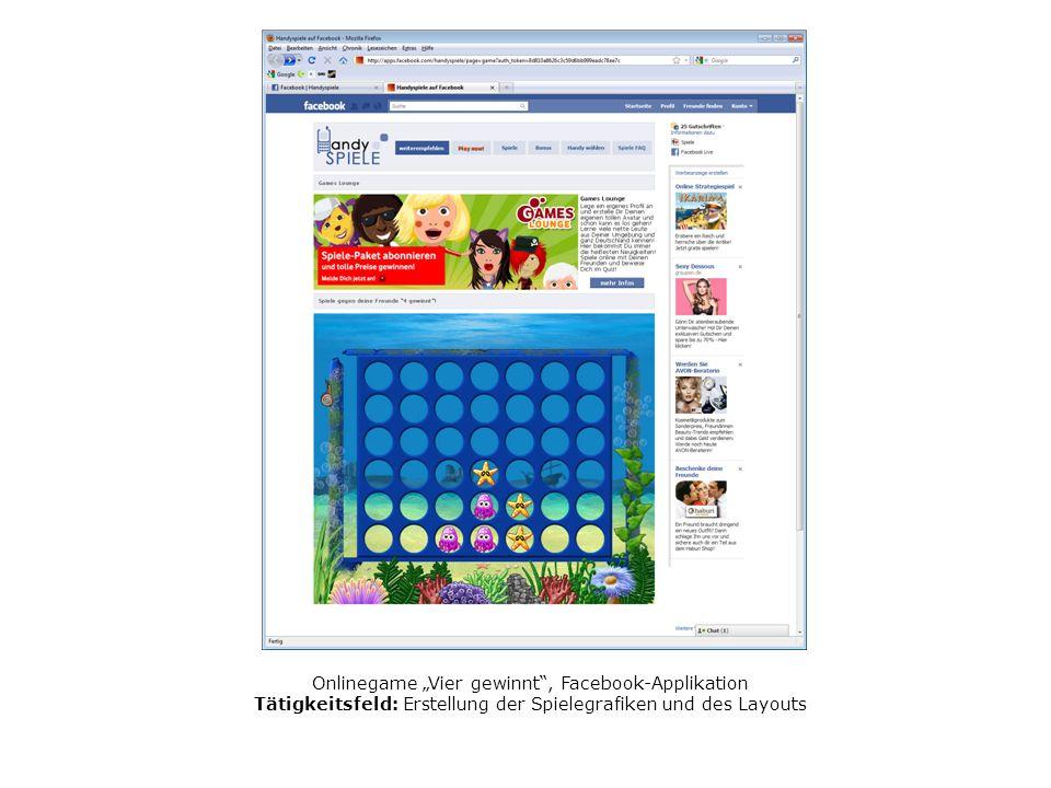 Onlinegame Vier gewinnt, Facebook-Applikation Tätigkeitsfeld: Erstellung der Spielegrafiken und des Layouts