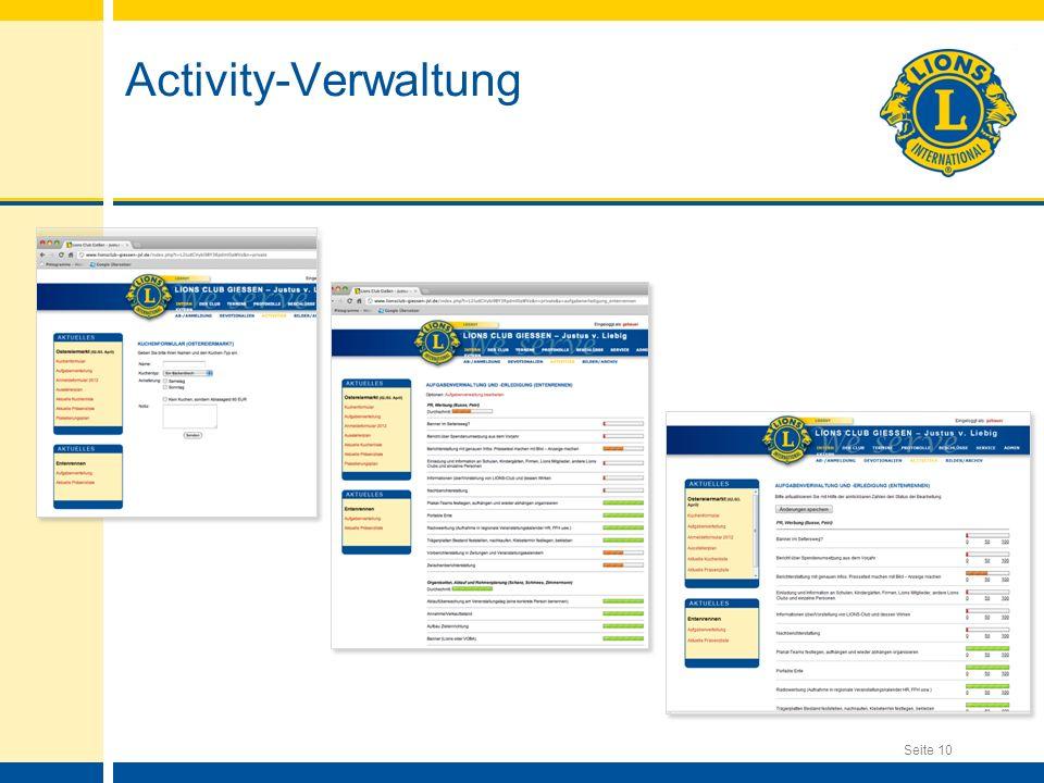Seite 10 Activity-Verwaltung