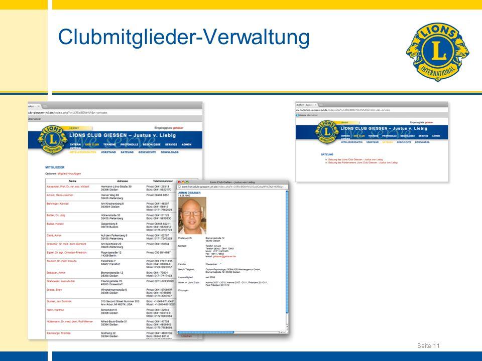 Seite 11 Clubmitglieder-Verwaltung