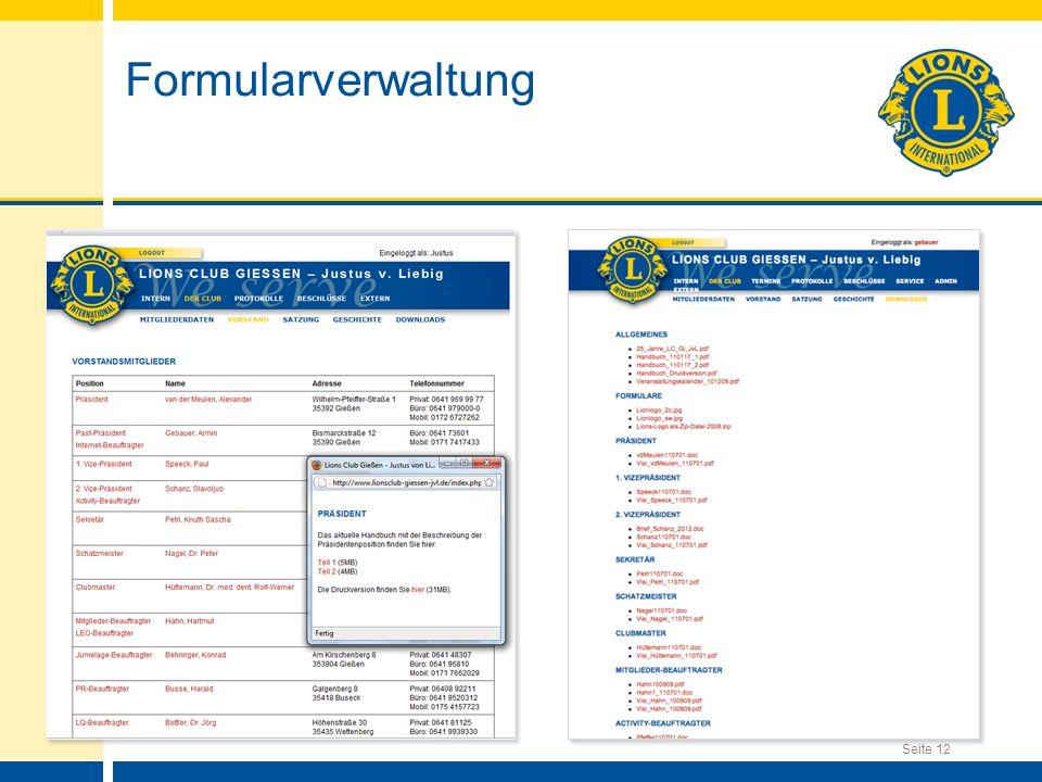 Seite 12 Formularverwaltung