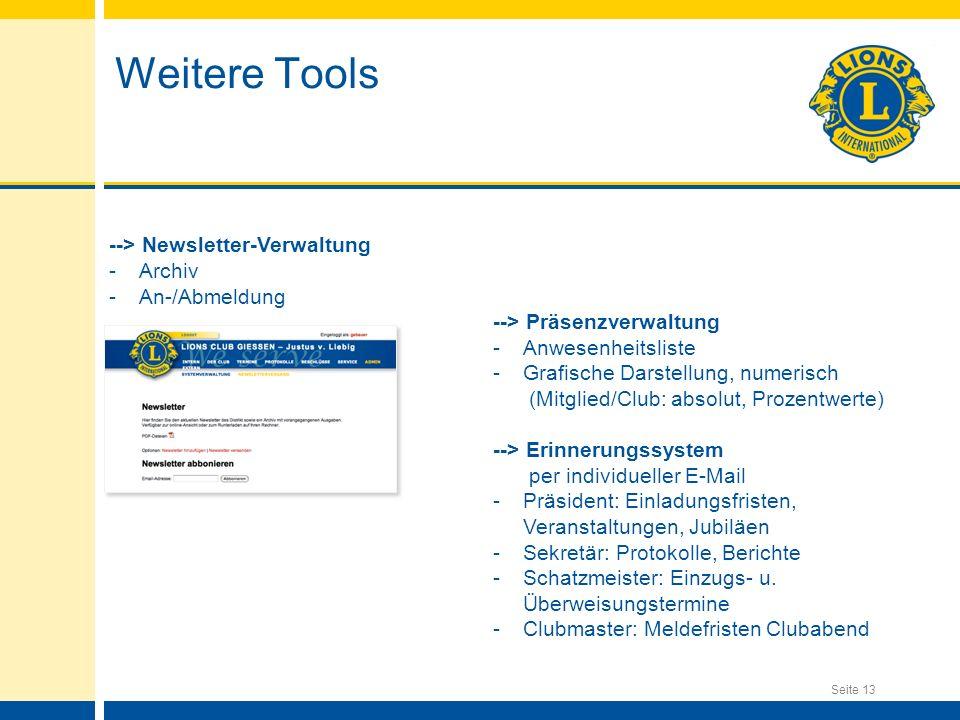 --> Newsletter-Verwaltung -Archiv -An-/Abmeldung --> Präsenzverwaltung -Anwesenheitsliste -Grafische Darstellung, numerisch (Mitglied/Club: absolut, P