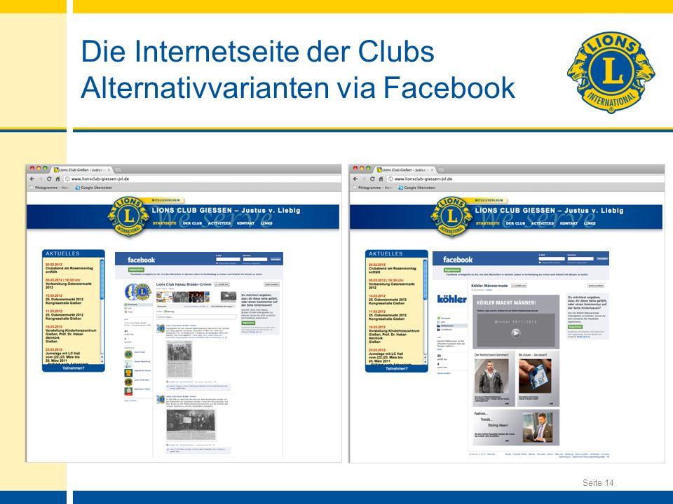 Seite 14 Die Internetseite der Clubs Alternativvarianten via Facebook