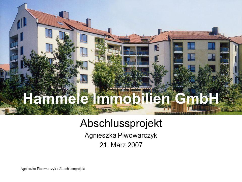 Agnieszka Piwowarczyk / Abschlussprojekt Tätigkeitsbereich der Hammele Immobilien GmbH Die Schwerpunkte der Geschäftstätigkeit sind: Ankauf und Verwertung bestehender Wohnanlagen Neubau von Eigentumswohnungen Hausverwaltung Die Firma Hammele GmbH wurde im Januar 1980 gegründet.