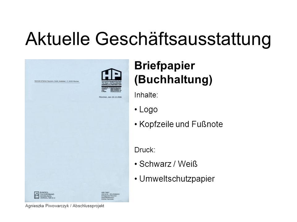 Agnieszka Piwowarczyk / Abschlussprojekt Redesign - Phase I Prozess der Logo-Entwicklung