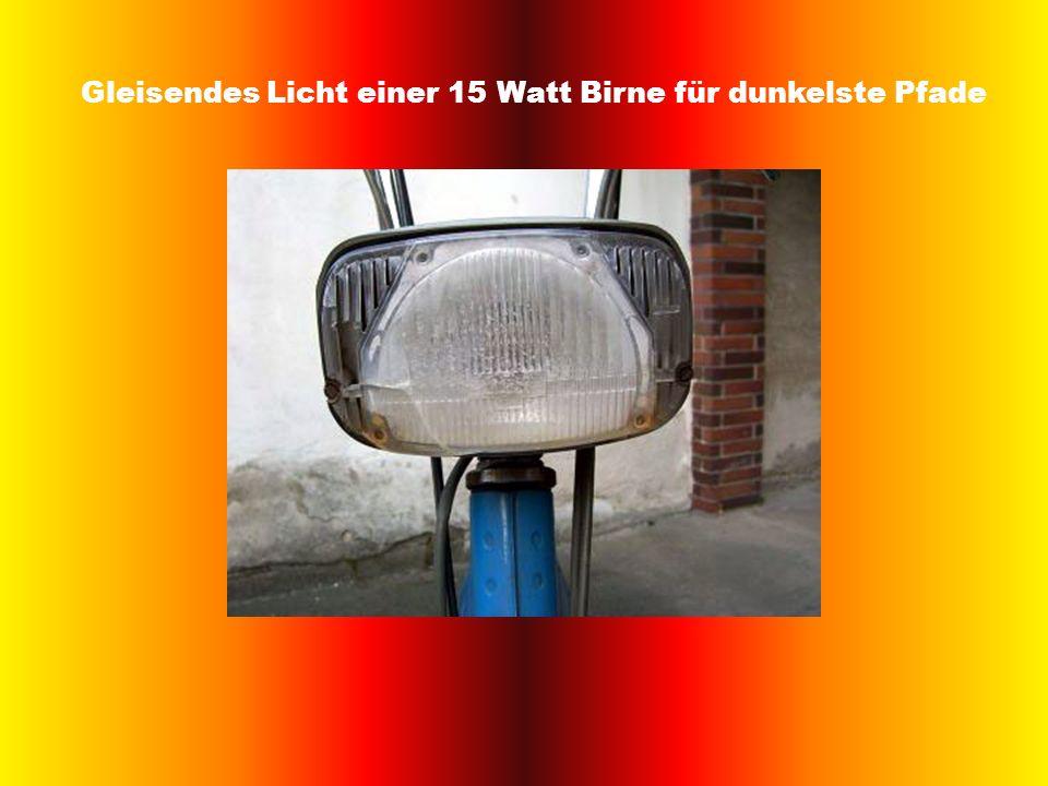 Gleisendes Licht einer 15 Watt Birne für dunkelste Pfade