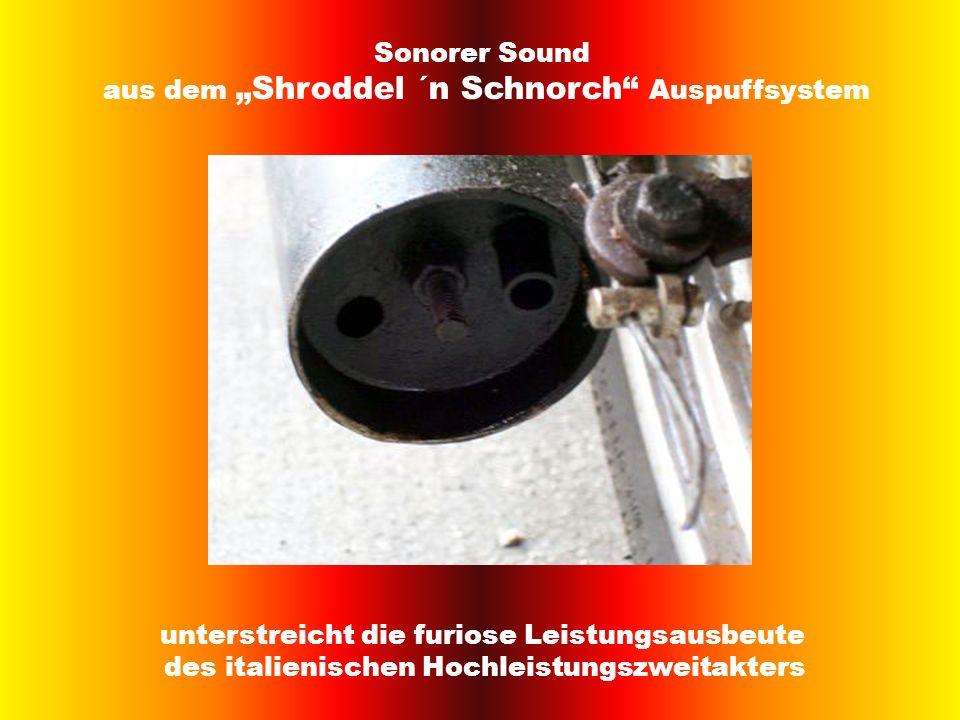 Sonorer Sound aus dem Shroddel ´n Schnorch Auspuffsystem unterstreicht die furiose Leistungsausbeute des italienischen Hochleistungszweitakters