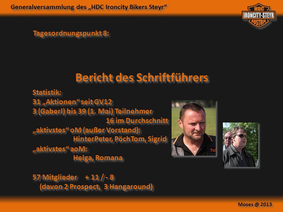 Generalversammlung des HDC Ironcity Bikers Steyr Moses @ 2013 Tagesordnungspunkt 8: Bericht des Schriftführers Statistik: 31 Aktionen seit GV12 3 (Gaberl) bis 39 (1.