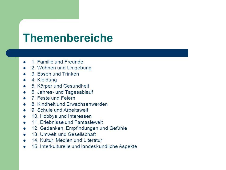 Themenbereiche 1.Familie und Freunde 2. Wohnen und Umgebung 3.