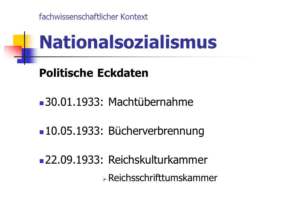 fachwissenschaftlicher Kontext Nationalsozialismus Politische Eckdaten 30.01.1933: Machtübernahme 10.05.1933: Bücherverbrennung 22.09.1933: Reichskult