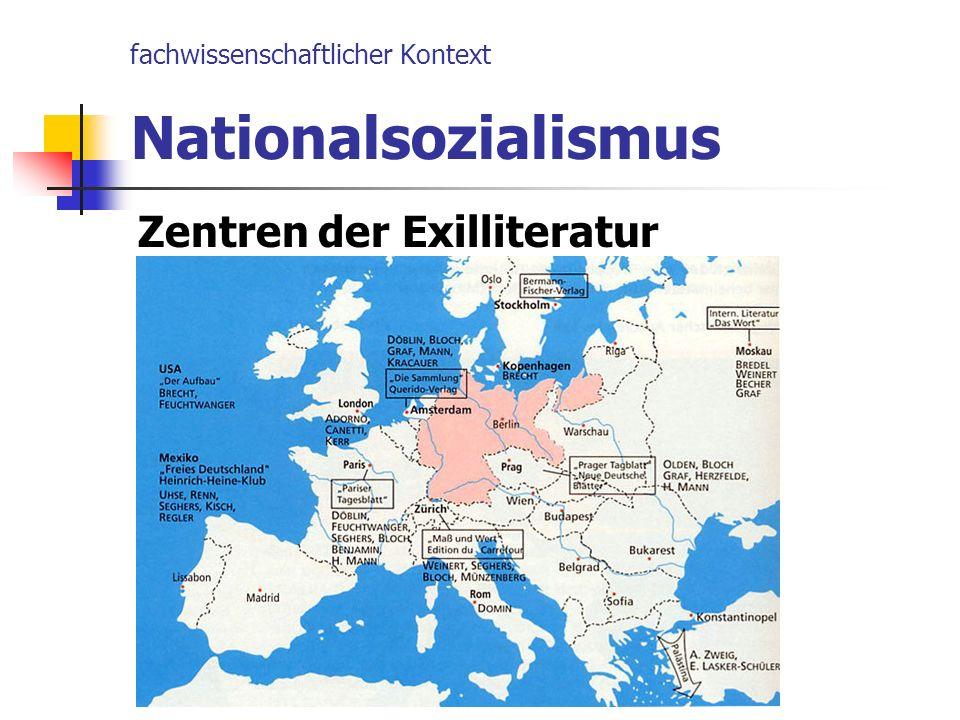 fachwissenschaftlicher Kontext Nationalsozialismus Zentren der Exilliteratur
