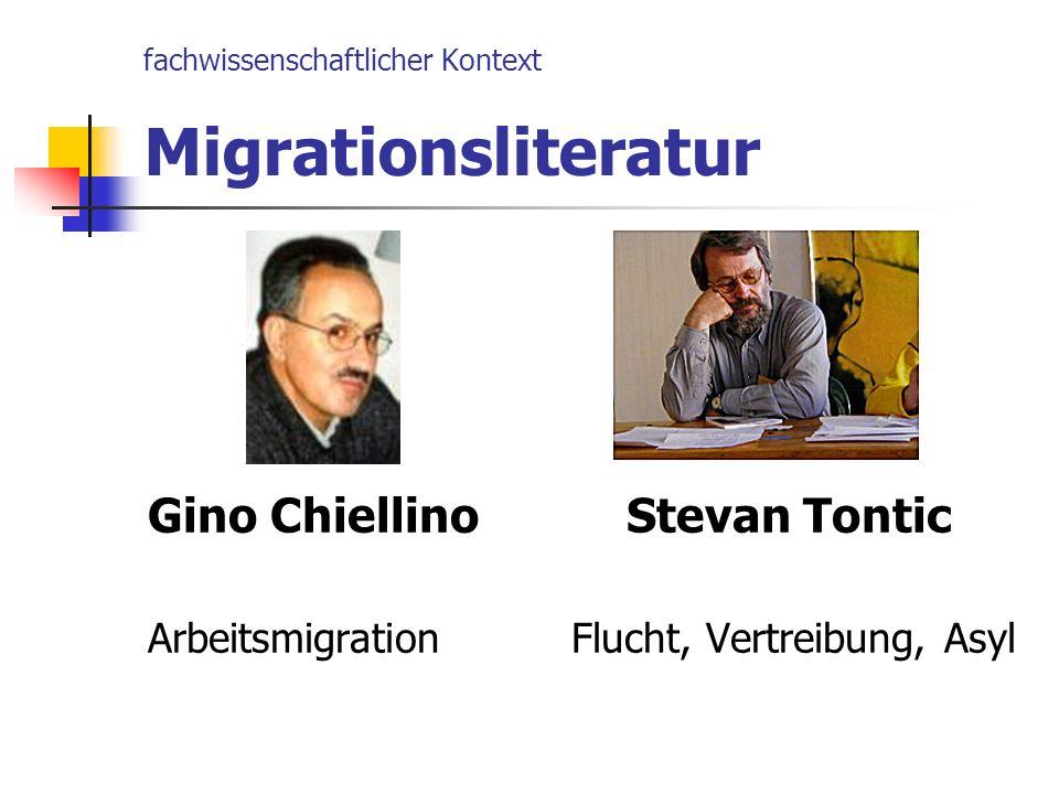 fachwissenschaftlicher Kontext Migrationsliteratur Gino Chiellino Stevan Tontic ArbeitsmigrationFlucht, Vertreibung, Asyl