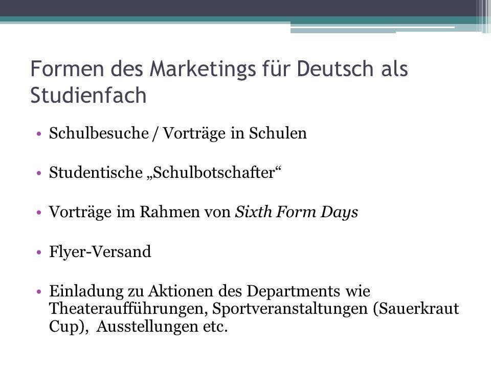 Formen des Marketings für Deutsch als Studienfach Schulbesuche / Vorträge in Schulen Studentische Schulbotschafter Vorträge im Rahmen von Sixth Form D