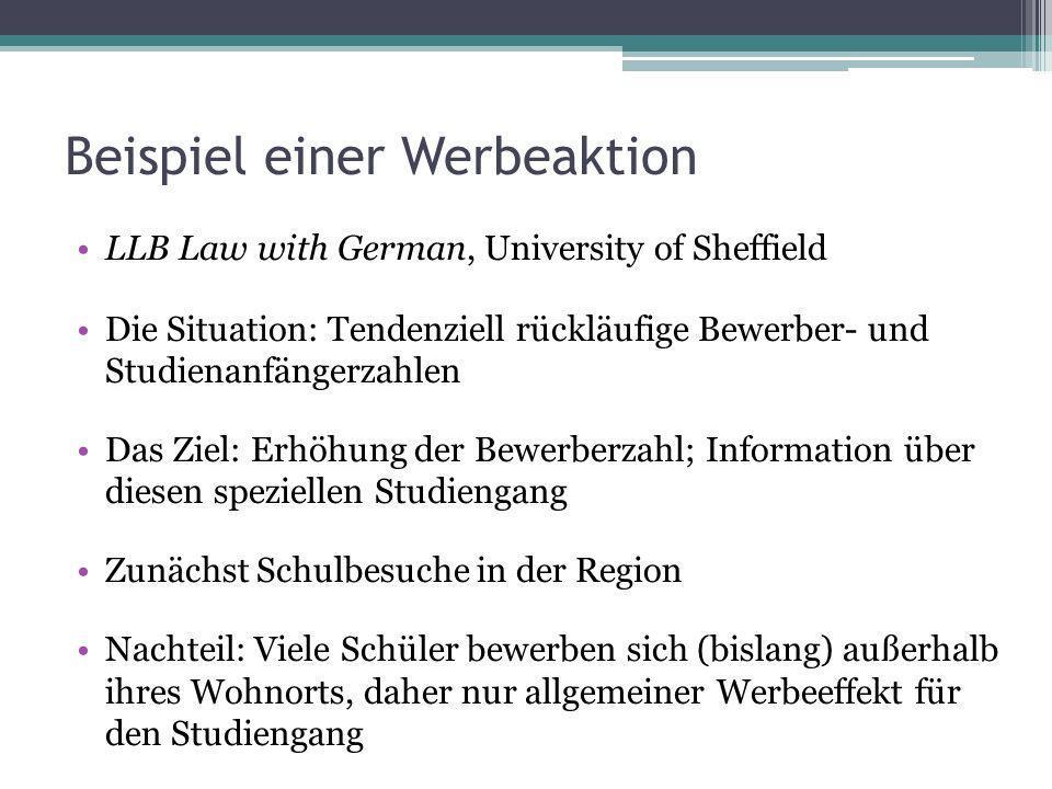 Beispiel einer Werbeaktion LLB Law with German, University of Sheffield Die Situation: Tendenziell rückläufige Bewerber- und Studienanfängerzahlen Das