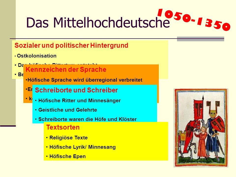 Das Althochdeutsche 700 - 1050 Sozialer und politischer Hintergrund Kulturelles Selbstbewusstsein im Frankenreich Karl der Große wird zum Kaiser gekrö