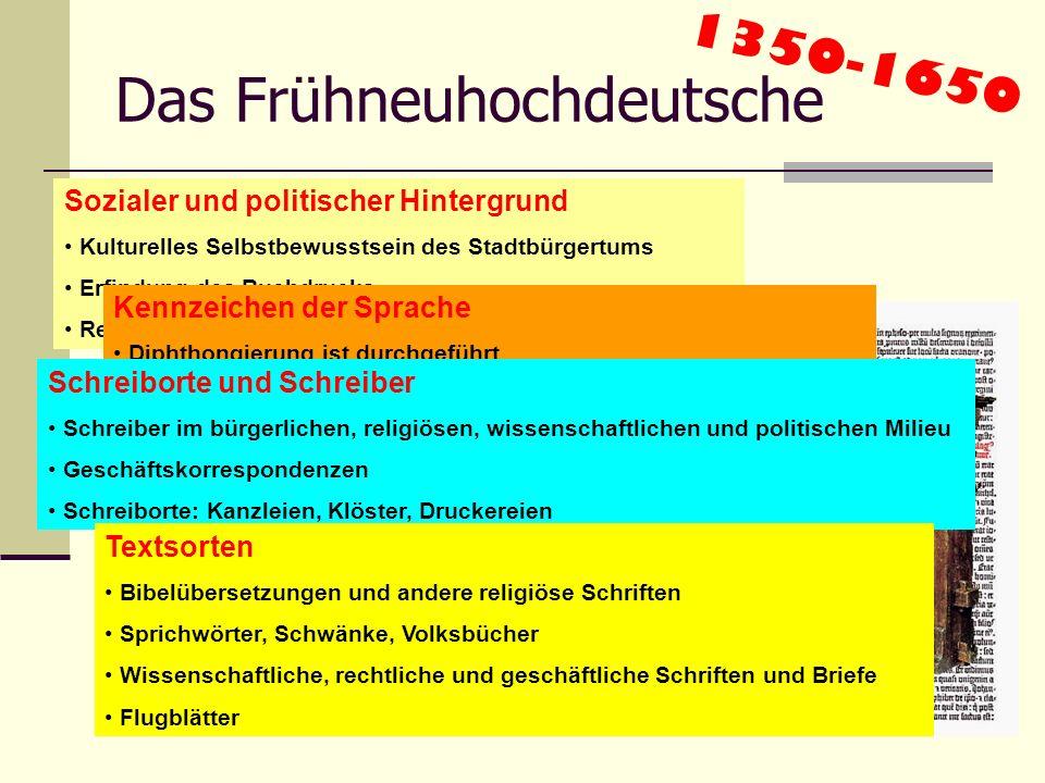 Das Mittelhochdeutsche 1050-1350 Sozialer und politischer Hintergrund Ostkolonisation Das höfische Rittertum entsteht Beginnender kultureller Aufstieg