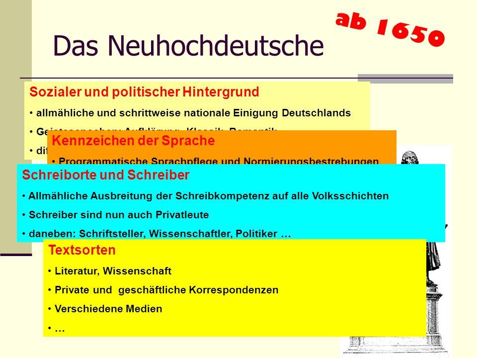 Das Frühneuhochdeutsche 1350-1650 Sozialer und politischer Hintergrund Kulturelles Selbstbewusstsein des Stadtbürgertums Erfindung des Buchdrucks Refo